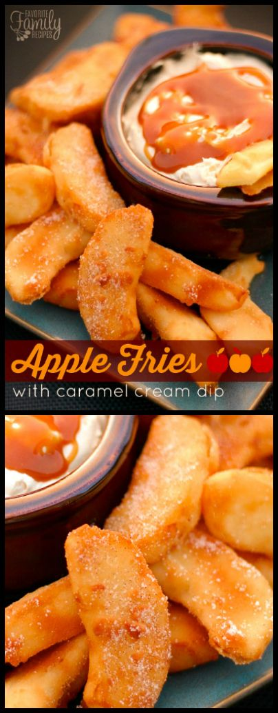 These Apple Fries with Caramel Cream Dip are the perfect warm dessert for a crisp Autumn evening. It made our house smell like apple pie. via @favfamilyrecipz