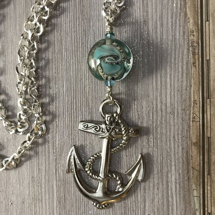 Excited to share the latest addition to my Etsy shop: Big Silver Anchor, Blue Green, Unisex Gift #nauticalnecklace #lampworkbead