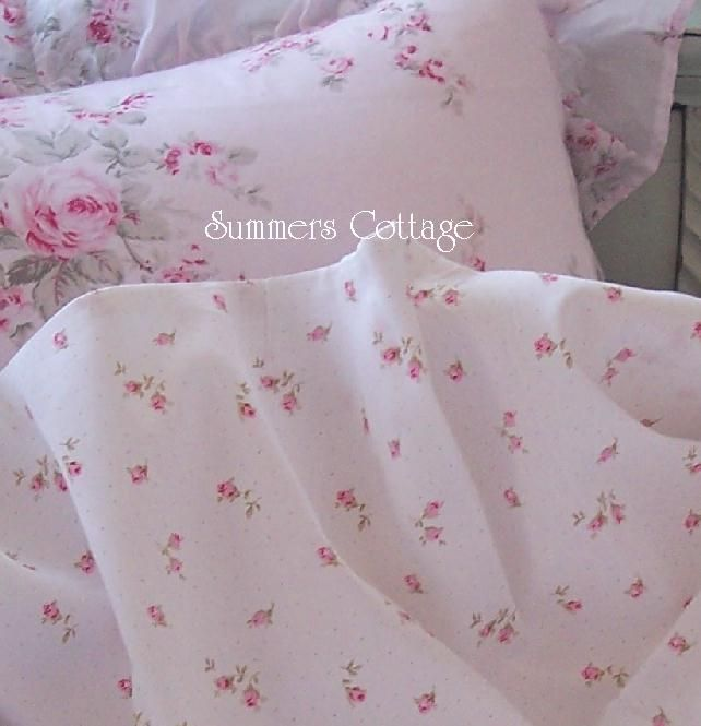 shabby beach cottage chic baby pink roses king sheet set