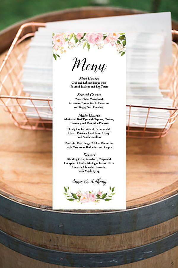 Peony Floral Printable Menu Wedding Dinner Menus Template Pink