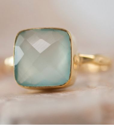 beautiful aqua blue cushion cut ring