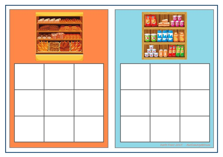 Board for the bread/dairy sorting game. Find the belonging tiles on Autismespektrum on Pinterest. By Autismespektrum