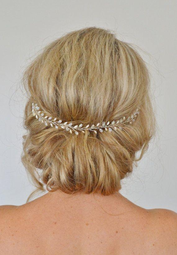 Pelo novia vid boda cabello vid vid perlas pelo de cristal