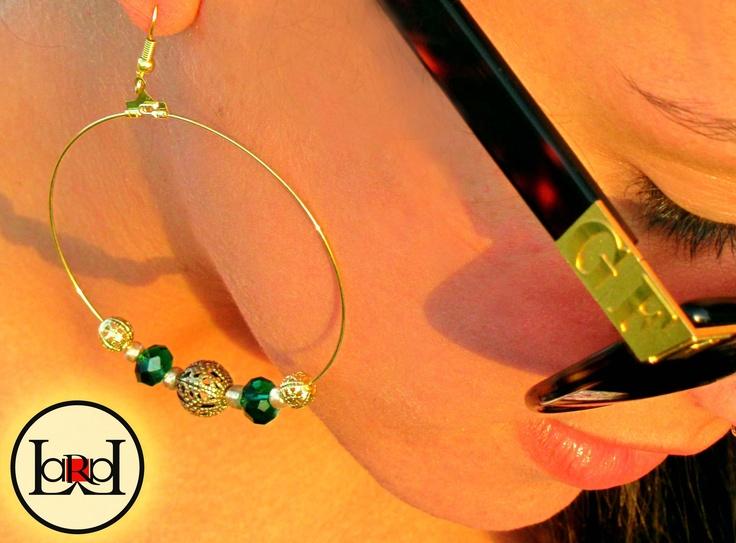 Green big earrings