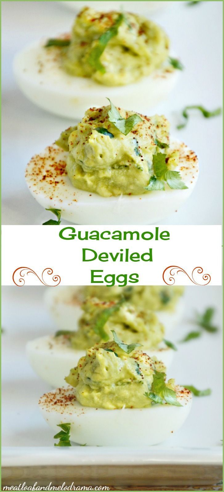 Guacamole Deviled Eggs ~ Made with avocados, not mayo, and sprinkled with chipotle powder for extra spice. Perfect for Easter, picnics, parties or a tasty snack or appetizer any day! Great way to use up those hard boiled eggs!