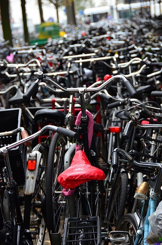 There are more bicycles than people in the Netherlands, so a lot of them parked together is a common sight.