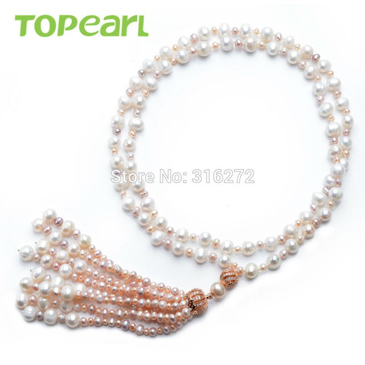 Topearl Jewelry White / Pink / Lavender Freshwater Pearls Crown Pendant Tassel Necklace FN508