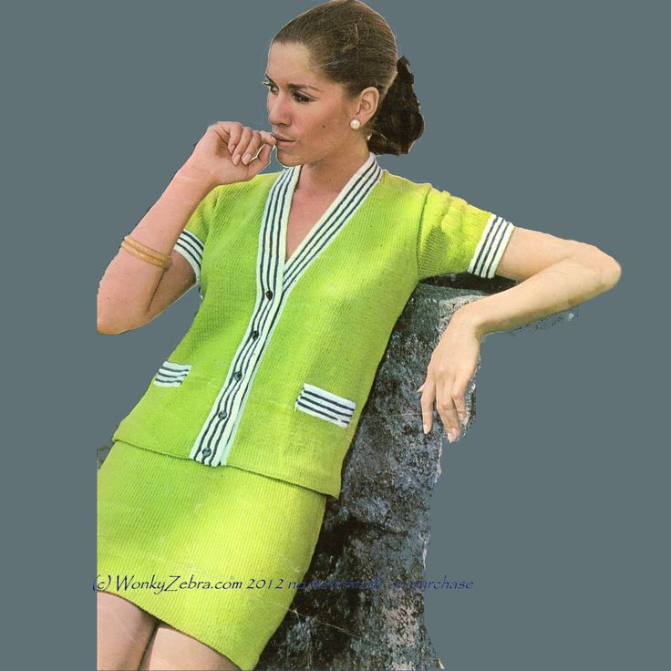 retro knitted summer suit pattern. WZ085