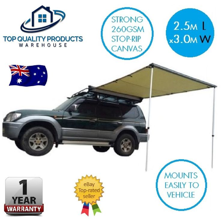 Never be without extra cover while camping again. This easy to attach car side awning is perfect for the traveller and camper. Featuring a generous 2.5m long x 3m wide shading cover area, this strong durable 4WD vehicle car side awning is made of 260GSM Rip-stop blended canvas which will more than stand up to the elements while camping in the great outdoors.   eBay!