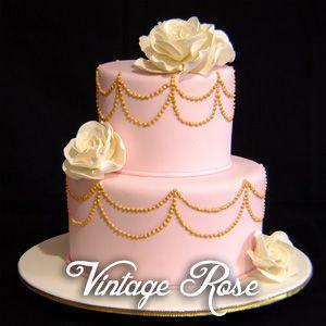 Vintage rose pink and gold