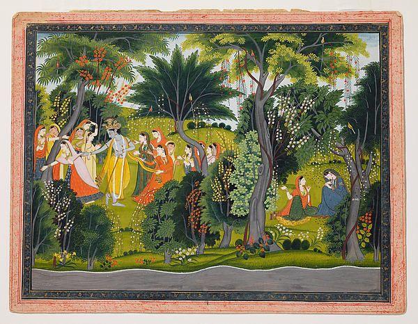 Krishna Flirting with the Gopis, to  Radha's Sorrow: Folio from a Gita Govinda Series; Attributed to Purkhu (active ca. 1780-1820); ca. 1810-1820.