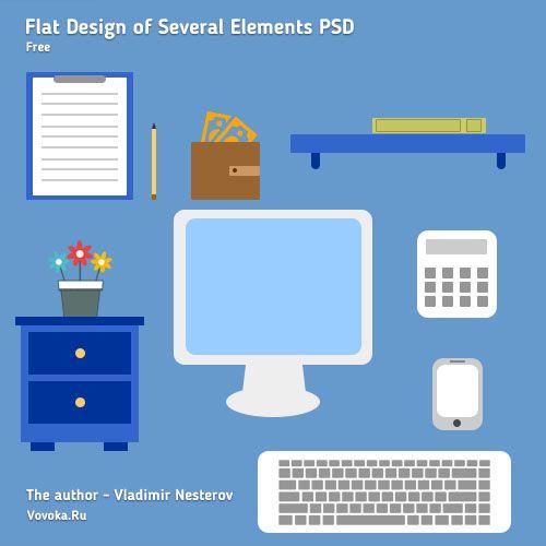 Плоский Дизайн Элементов PSD
