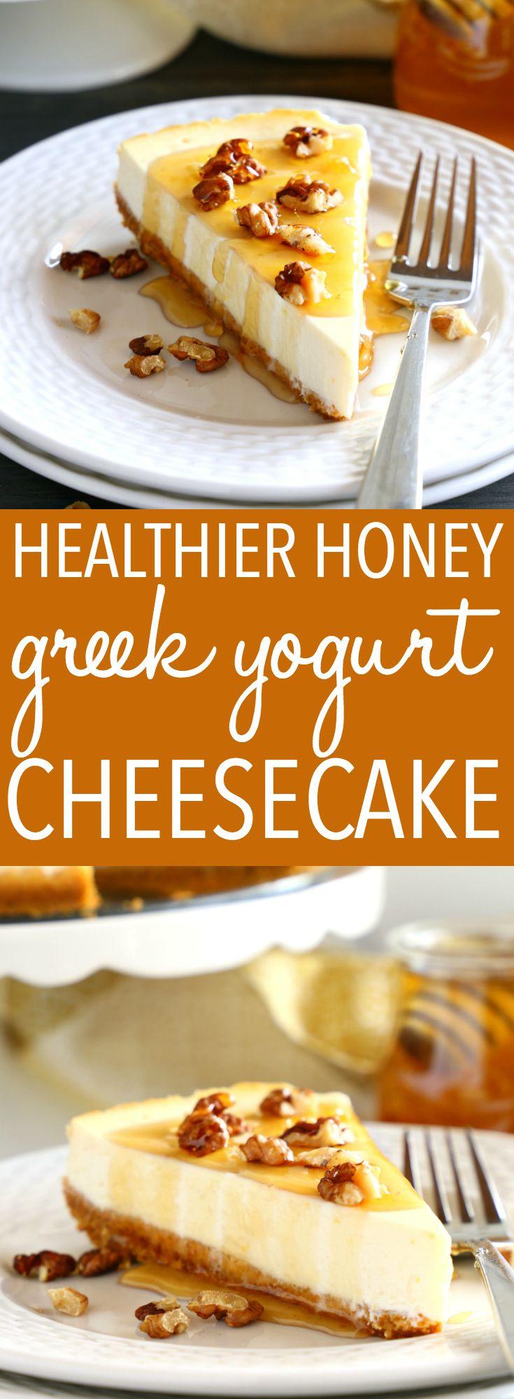 This Healthy Honey Greek Yogurt Cheesecake is the BEST healthy dessert for summe…