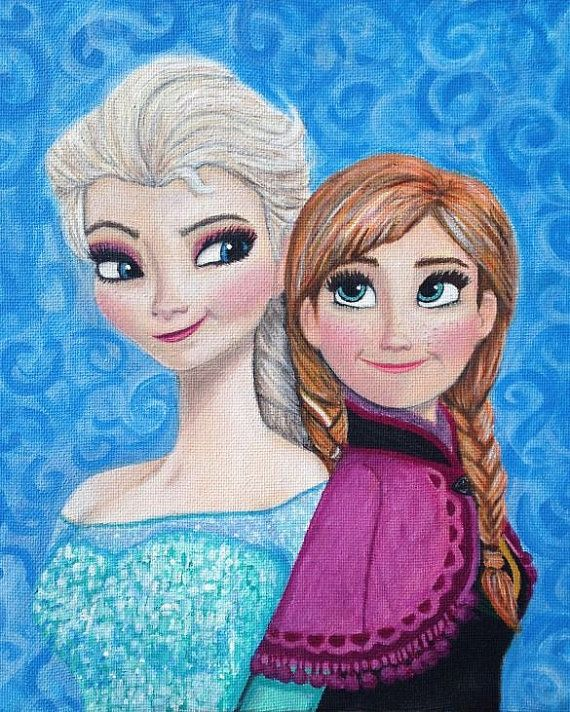 Frozen Elsa and Anna painting print ONLY $10!   https://www.etsy.com/listing/197797894/frozen-elsa-and-anna-painting-print?ref=shop_home_active_17