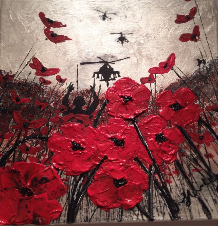 War Poppy Remembrance Soldier Original Painting Expressionism Impressionism Textured Impasto Art on Canvas Signed by Jacqueline Hurley