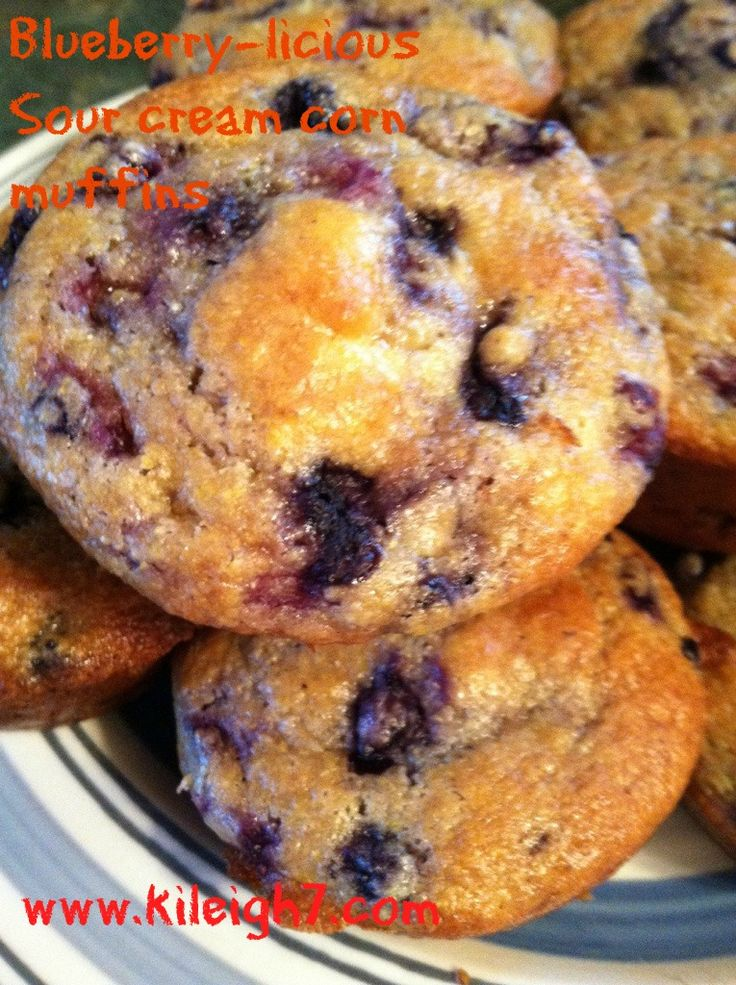 Blueberry-licious Sour Cream Corn Muffins | My 3 Ring Circus