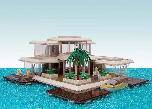Lego home floating on water....boat included....I'm in!!