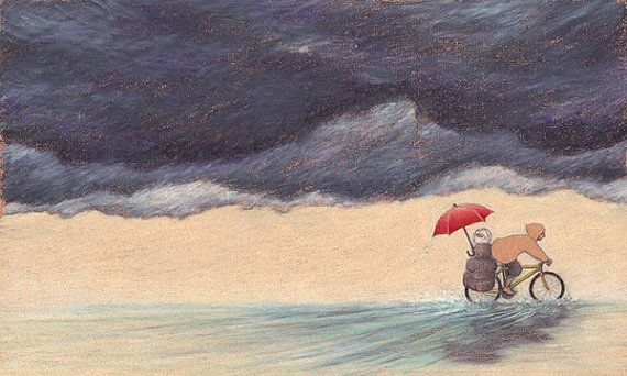 """Illustration """"THE JOURNEY: HITCHES"""", signed print. Bike bicycle trip, storm and rain, goldfish. Pencils on paper"""