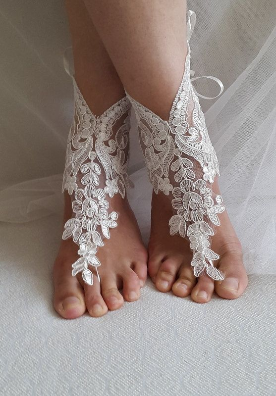 Aksesuarlar, beyaz dantelli, düğün sandaletleri, ayakkabılar, ücretsiz gönderim!  Halhal, gelin sandalet, nedime hediyeleri .......