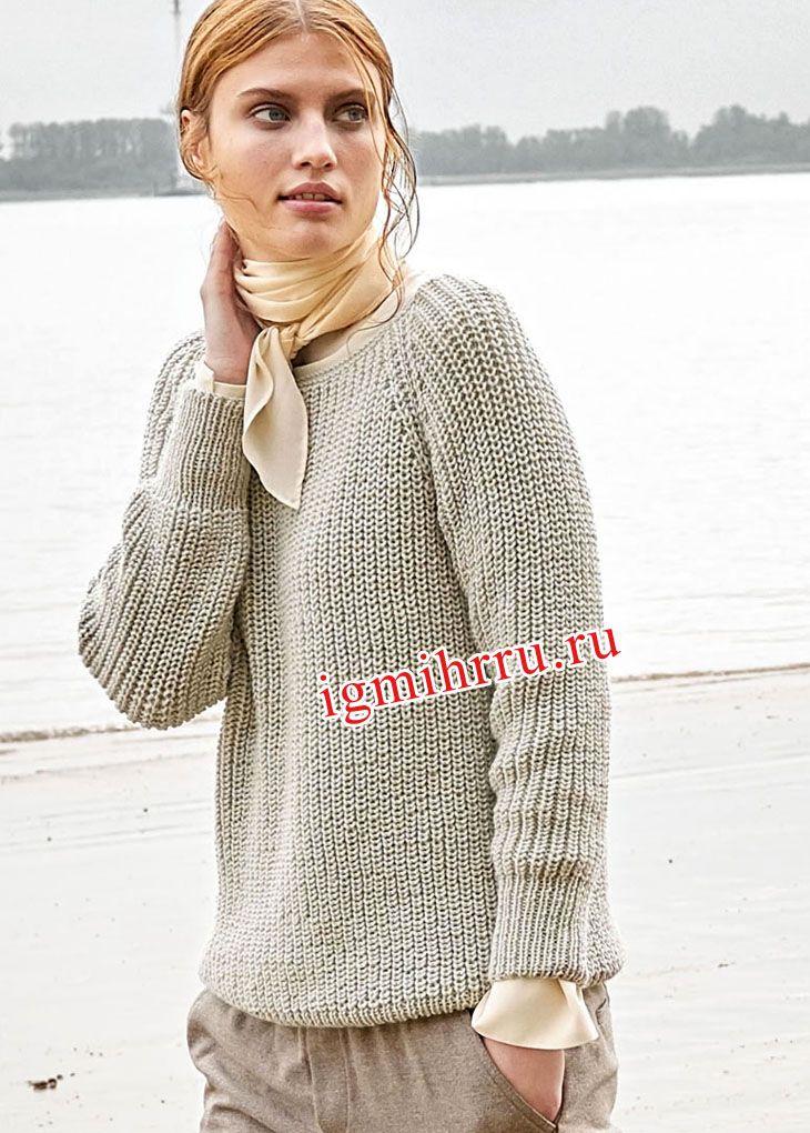 Лаконичный шерстяной пуловер-реглан цвета шелка-сырца. Вязание спицами