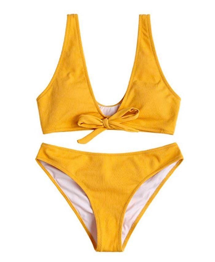 b8ed6db8a4 Zaful Cami Ladder Cut Ruched Bathing Suit | Shopping List in 2019