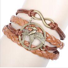 Nieuwe Mode Vintage Vogel Armbanden & Bangles Infinity Handgemaakte Brede Manchet Lederen Armband Geweven Polsband Armbanden Voor Vrouwen(China (Mainland))