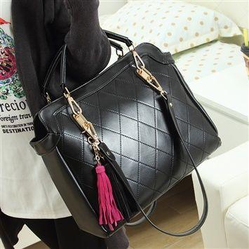 Veegol™  2014 New Arrivals Women's Korean Version Rhombic Pattern Tassels Handbag (coupon code 3offpin)