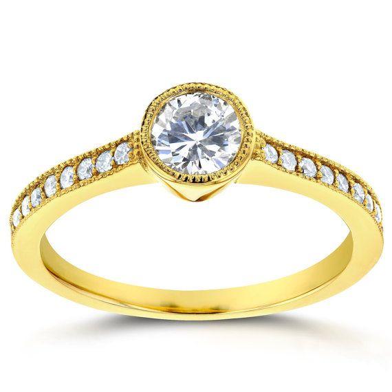 Art Deco diamantes bisel compromiso anillo de 3/4 por Kobelli