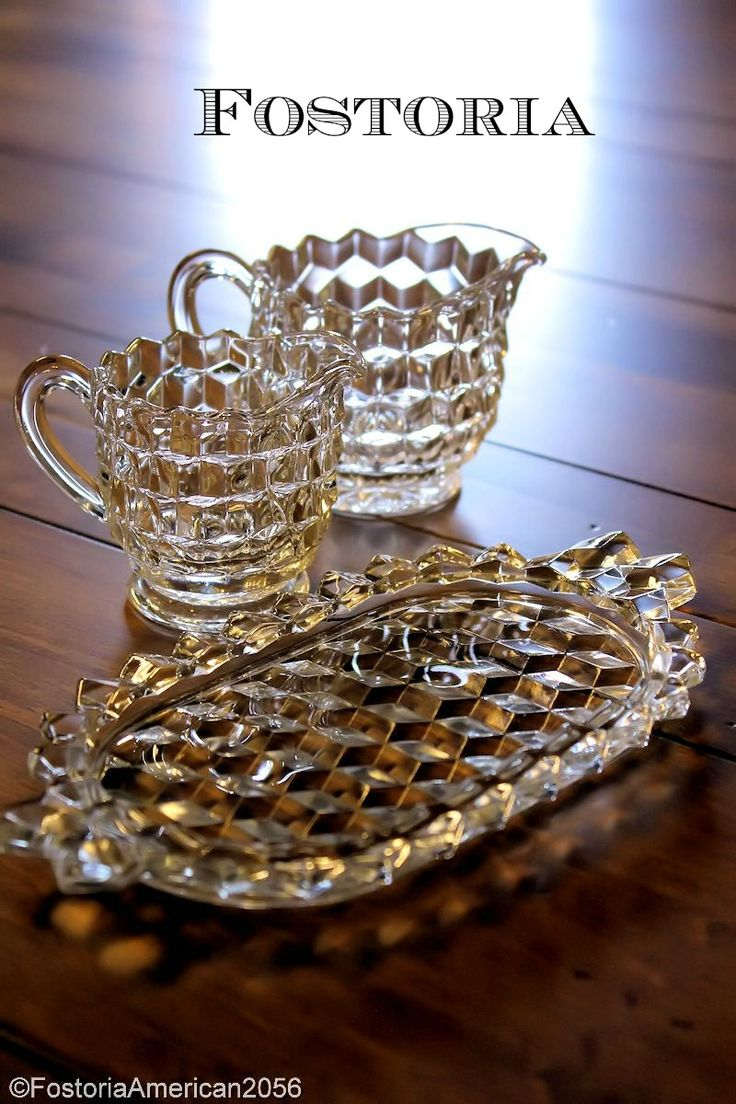 Cream and Sugar 3-Piece Sets & 413 best Fostoria American Glassware images on Pinterest | Dish ...