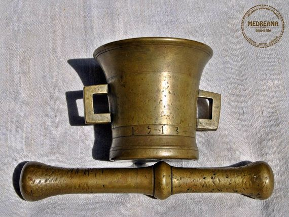 Very Rare dated 1913 Antique Brass Mortar and by VintageMedreana, $99.00