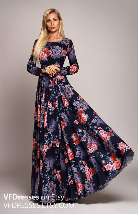 Dark Blue Floral Maxi Dress Long Sleeve Dress Summer Dress Etsy Blue Floral Maxi Dress Long Sleeve Floral Maxi Dress Maxi Dress