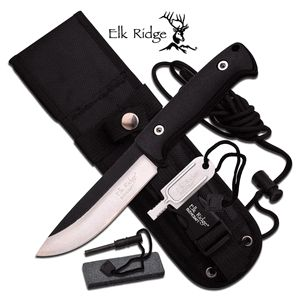 """Elk Ridge """"Ultimate Hunter"""" FIXED BLADE KNIFE Features: - FIXED BLADE - 10.5"""" OVERALL - 5.3"""" 4.5MM BLADE, STAINLESS STEEL - SATIN FINISH PLAIN BLADE - BLACK NYLON FIBER PARACORD WRAP HANDLE - INCLUDES"""