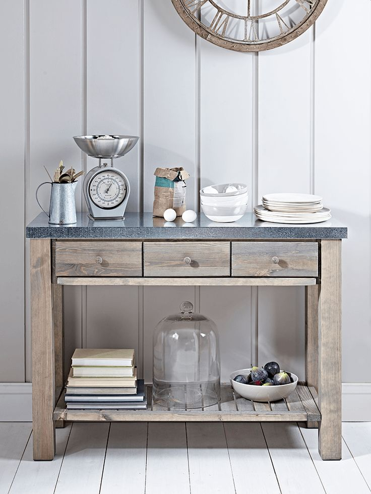 The perfect companion for our Metal Topped Eight Drawer Storage Unit, this freestanding console table has three handy drawers and a large shelf; great storage for the hallway, living room or kitchen. The galvanised metal top has a fabulous worn vintage feel and the drawers and shelves have been made from strong and sturdy untreated fir.