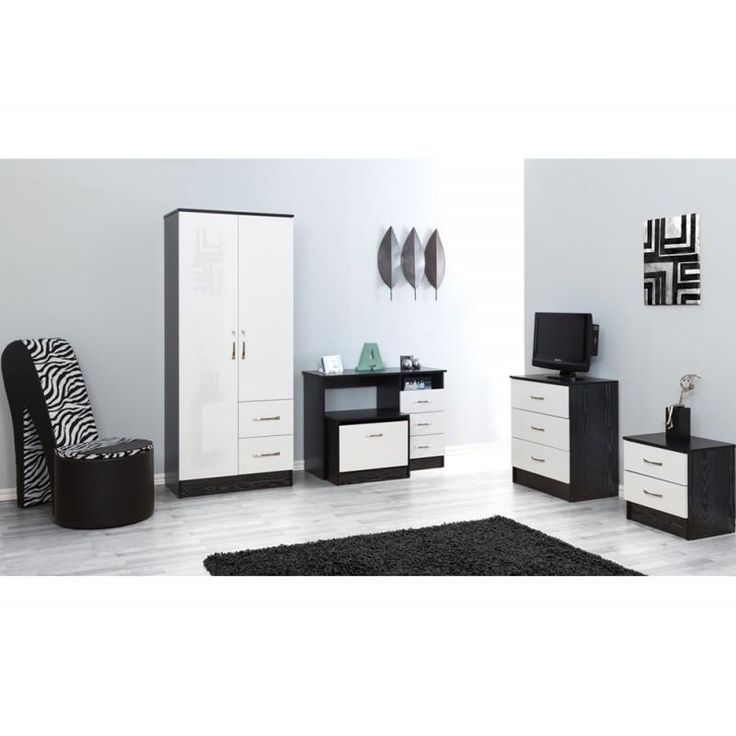 MARLA HIGH GLOSS BLACK OAK SLIDER BEDROOM SET Bedroom Furniture Set-Oak, White, Black, Red, Blue, Mirrored bedroom furniture set available at MFD www.modernfurnituredeals.co.uk  https://www.modernfurnituredeals.co.uk/collections/bedroom-sets/products/pure-white-gloss-ash-black-5-piece-bedroom-furniture-set
