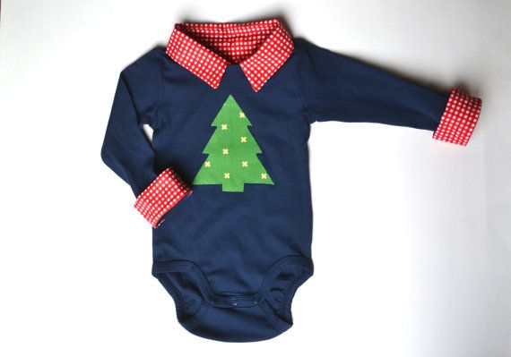 Baby Boy Christmas Outfit, First Christmas Onesie, Christmas Tree Shirt, Christmas Applique