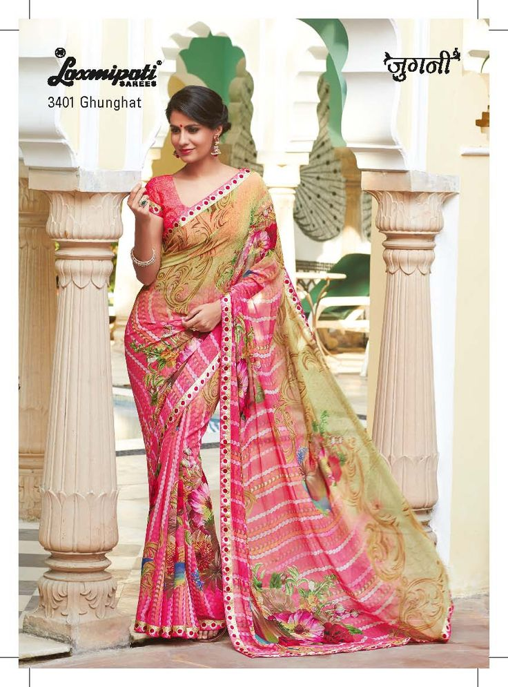 Gorgeous neon pink and light olive green on georgette fabric adds to the beauty of this floral printed saree.