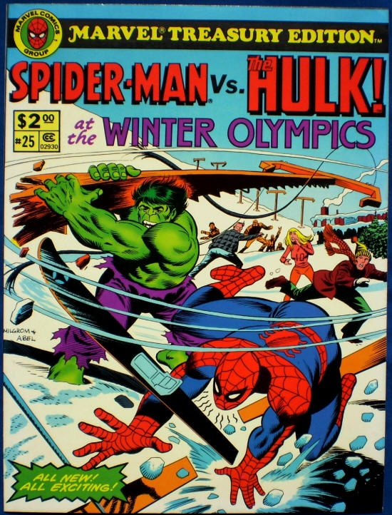 Chuck's Stuff has this 1980 Marvel Treasury Edition #25 Spider-Man vs. Hulk at the Winter Olympics comic for sale for $30. All new 64 page story. Very Fine/NM 9.0, details on site. A VF- 7.5 copy is also available for 18 bucks. If re-pinning, you can edit the description if you want. #comicbooks