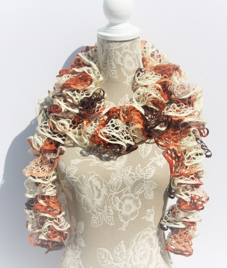 Autumn Frilly Ruffle Scarf, Orange Brown Crochet Ruffle Scarf, Woman's Crochet Scarf, Chrysalis, Handmade Scarf, Fashion Scarf,Gifts for Her by CraftCreationsbyRose on Etsy