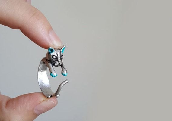Cat Ring Custom Colored Animal Wrap ring Birthday by colormemi