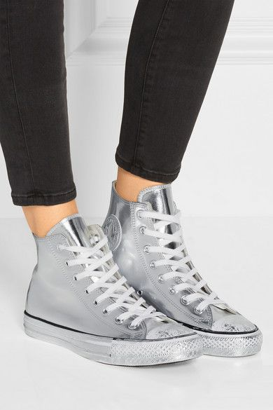 Converse | Chuck Taylor All Star Chrome metallic leather high-top sneakers | NET-A-PORTER.COM