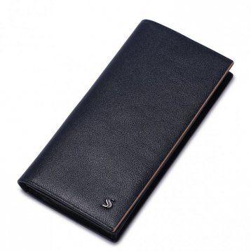 Wysokiej klasy długi męski portfel Niebieski