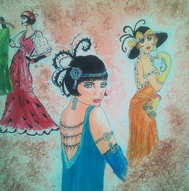 Giclee Print, Original Figurative Lady Painting, Twenties Fashion, Flapper Dess, £15.00