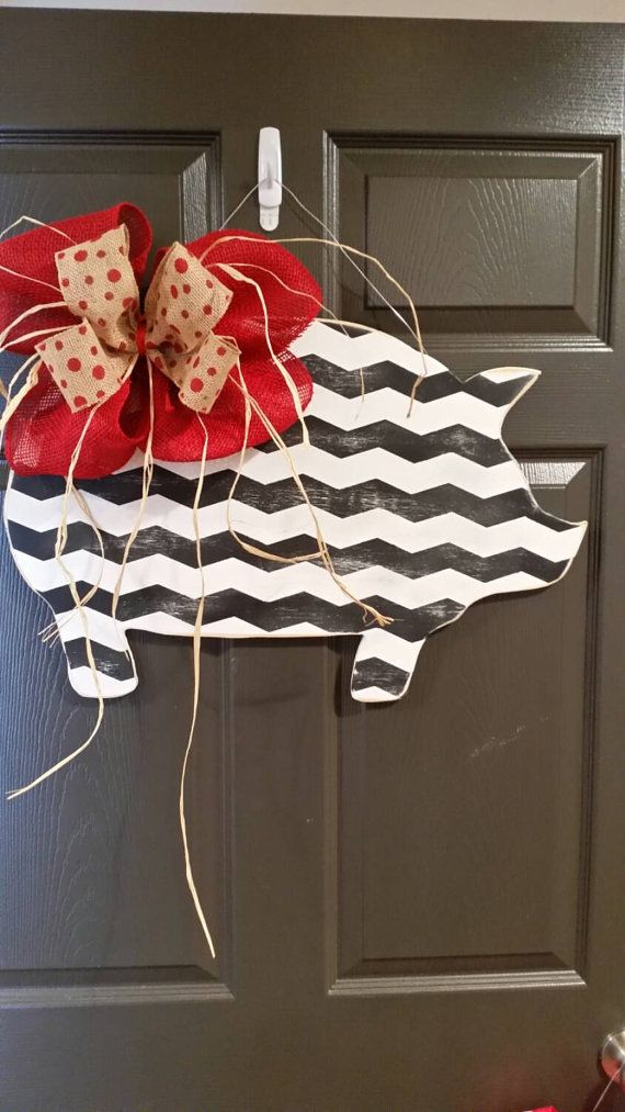 Amazing Chevron Painted Pig Door Hanger Pig Door Hanger By AEinspirations