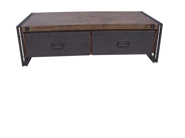 Salontafel met laden, salontafel industrieel. De salontafel is gemaakt van acacia hout en heeft een stalen frame. De laden lopen op geleiders. Direct uit voorraad leverbaar met een afmeting van 130 x 70 cm.    www.happy-home.nl