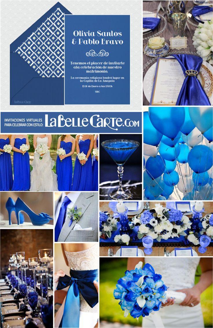 Invitaciones de boda, invitaciones para bodas, ideas para bodas, bodas en azul klein, fiesta en azul klein