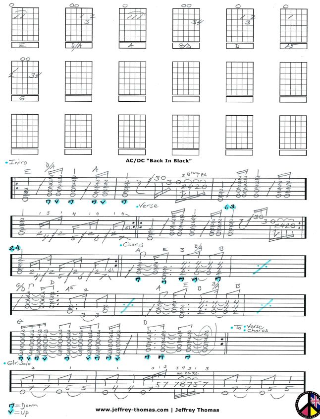 Free guitar tab for u0026quot;Back In Blacku0026quot; by AC/DC! Learn to play this classic rock tune with free ...