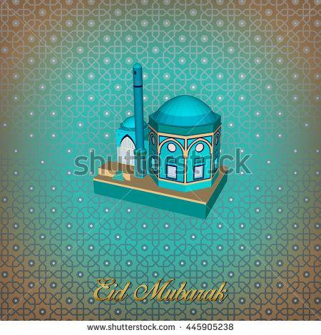 Eid Mubarak Islamic Greeting Banner Design Background. Isometric Style