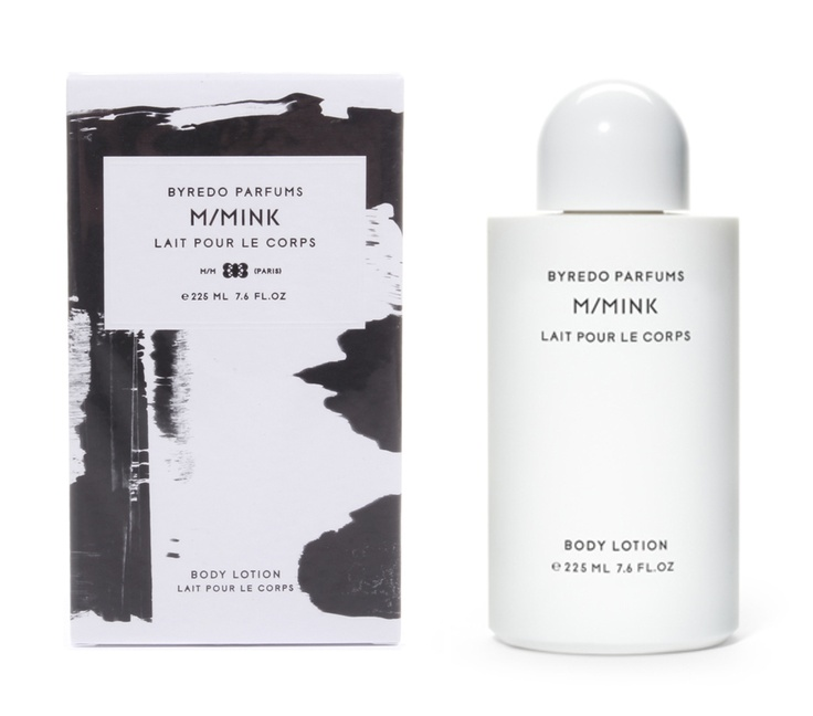 M/Mink Body Lotion by Byredo - simple art as the pattern. For Robyn, could be different colors to code.