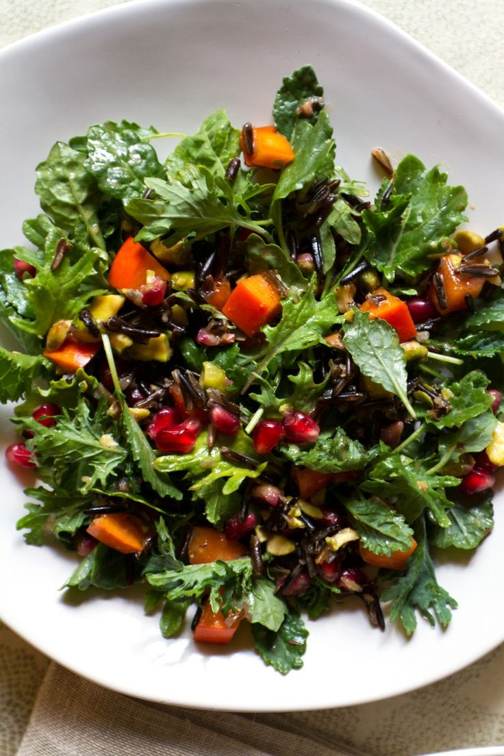 Pomegranate, Persimmon, and Pistachio Wild Rice Salad | http://saltandwind.com  | @saltandwind