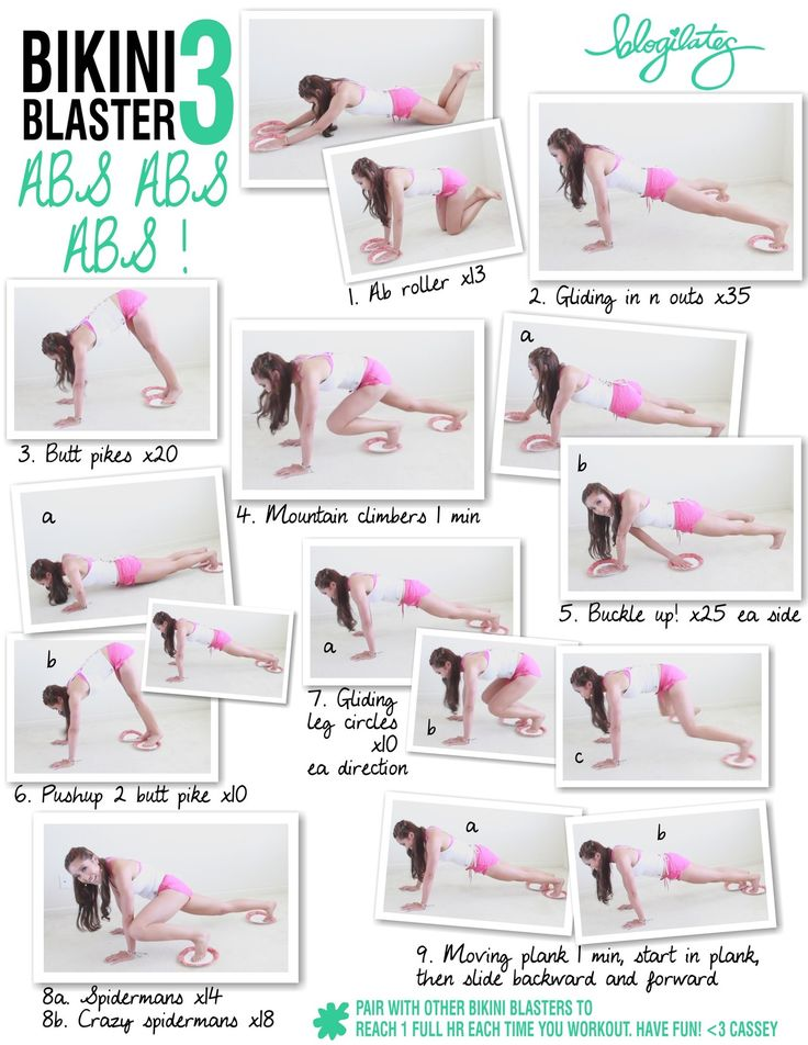 Bikini Blaster 3: Abs Abs Abs  You'll need paper plates if you're on carpet or towels if you're on a slick surface.  Have fun! View the whole Bikini Blaster video series here. It will target and tone your WHOLE BODY.  <3 Cassey